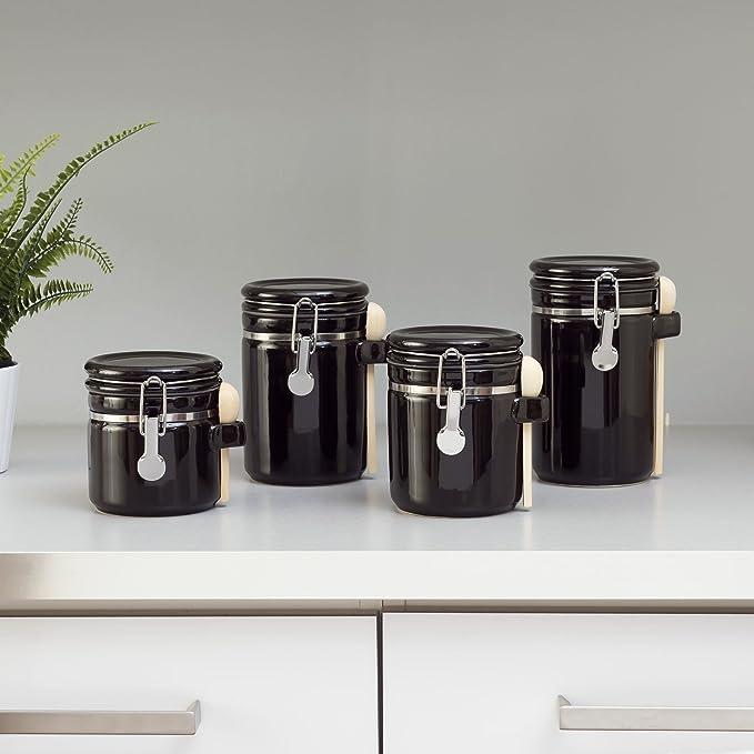 Amazon.com: Home Basic. Set de 4 frascos con cuchara de ...