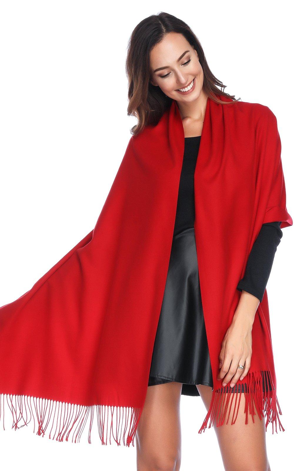 HOYAYO Cashmere Pashmina Shawls and Wraps Scarf(Red) by HOYAYO