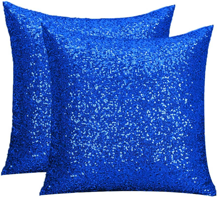 Amazon Com Pardecor Sequin Pillow Cover Sequin Pillow Case Pillow Cover Decorative Pillows Boho Throw Pillows Glitter Pillow Cover Shimmer Cute Throw Pillows For Kids Woman Cars Sofa Bed 20x20 Royal Blue Home