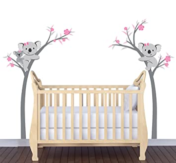 Girl Nursery Wall Decals, Koala Tree Decal In Pink And Gray Part 53