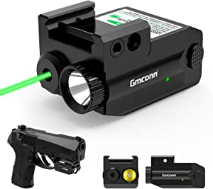 Pistol Laser Sight, 350 lm Gun Flashlight with Strobe Mode Green Sight for Handgun,Compact Rail Mount Tactical Flashlight, USB Rechargeable Weapon Light with LED and Green Laser, for Pistols/Handguns