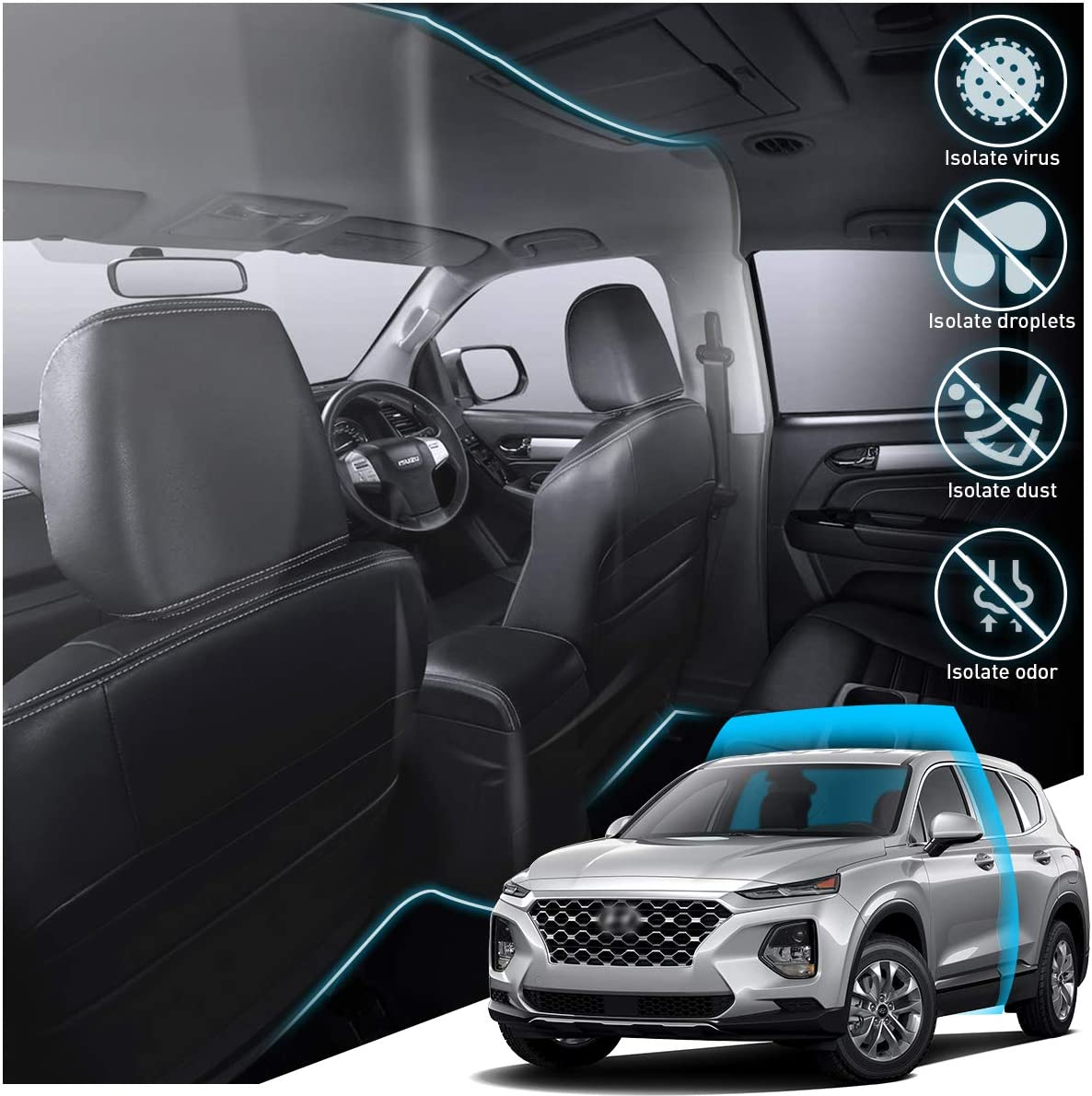 Car Protective Insulation Membrane Curtain PVC Bewteen First Row and Second Row for Taxi//Personal Drivers KFZMAN Transparent Car Taxi Isolation Film Anti-Droplet SUV Size 1.4MX2M
