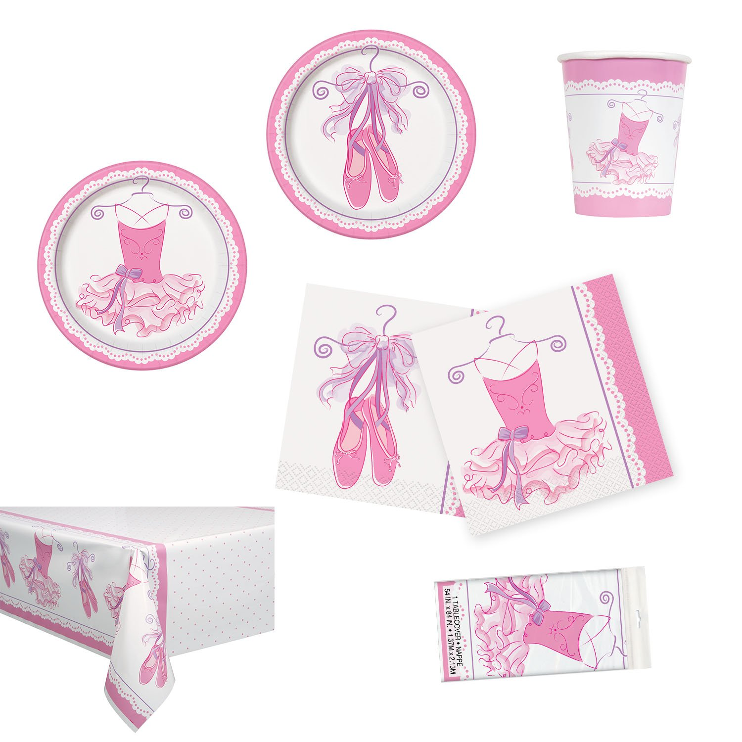 Unique Pink Ballerina Party Bundle | Luncheon & Beverage Napkins, Dinner & Dessert Plates, Table Cover, Cups | Great for Dance/Girly Birthday Themed Parties