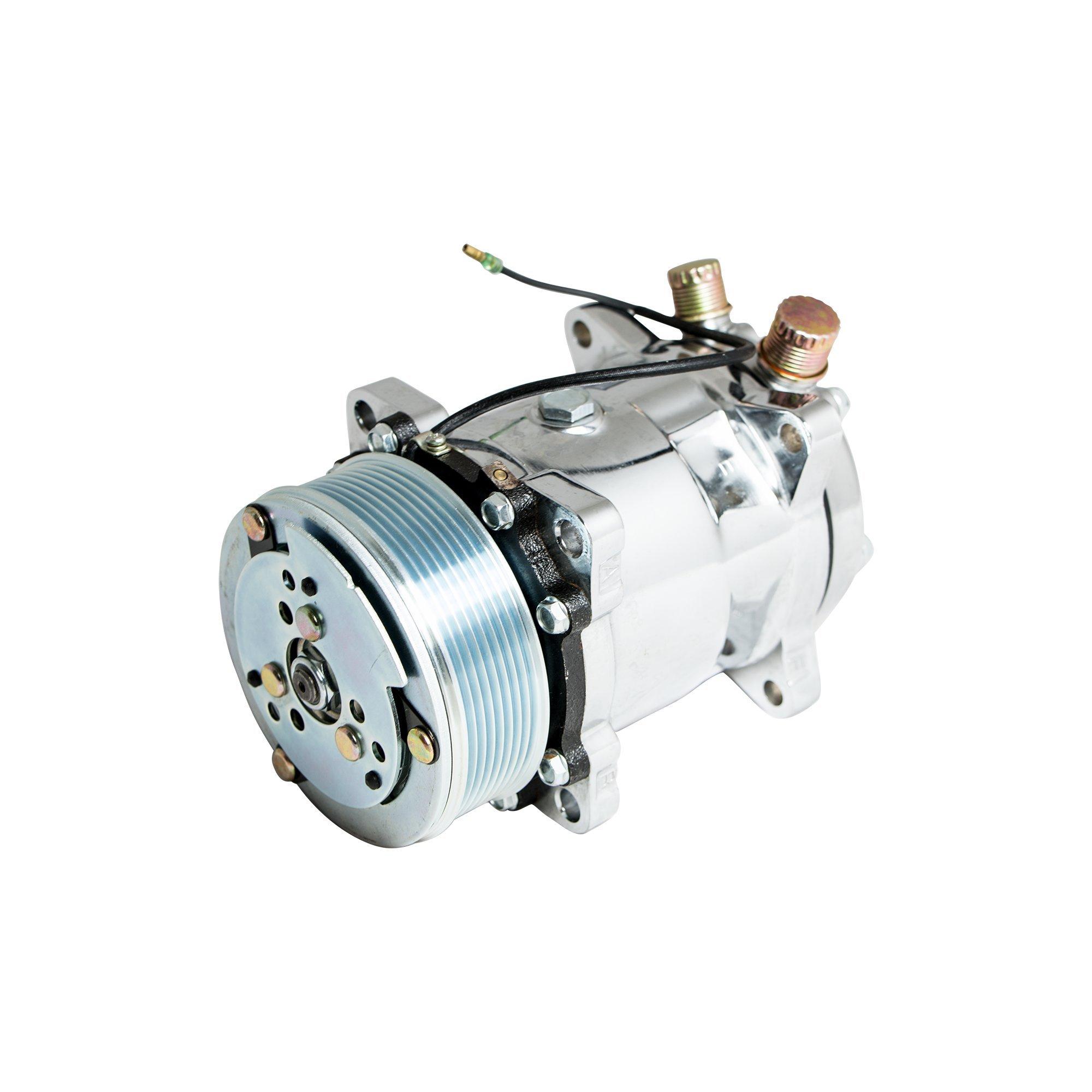 Top Street Performance HC5004C A/C Compressor with Silver Clutch (Chromed Serpentine-Belt Sanden 508 R134A Type)