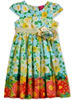 Bonny Billy Big Girl's Cap Sleeve Printed Woven Cotton Swing Skirt Dress