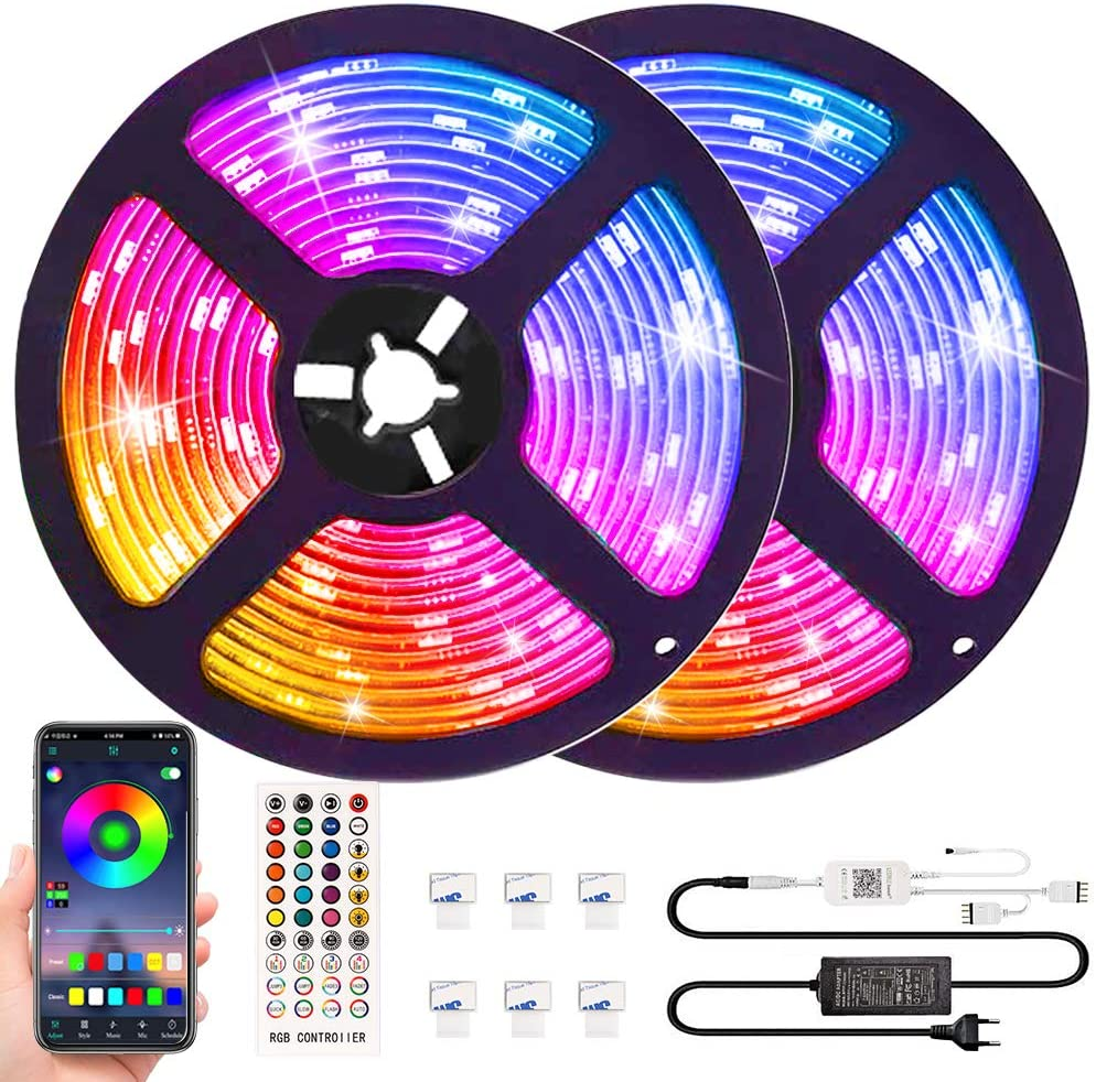 Led Lights 32.8ft with App Control,Bluetooth LED Light Strips Room Decor for Teen Girls,Lights That Sync with Music Color Changing LED Light Strip with Remote,Christmas Decoration Lights