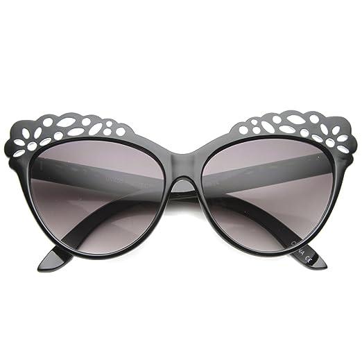 400f7a12f3d46 zeroUV - Women s Oversize Geometric Laser Cut Frame Cat Eye Sunglasses 58mm  (Black Lavender
