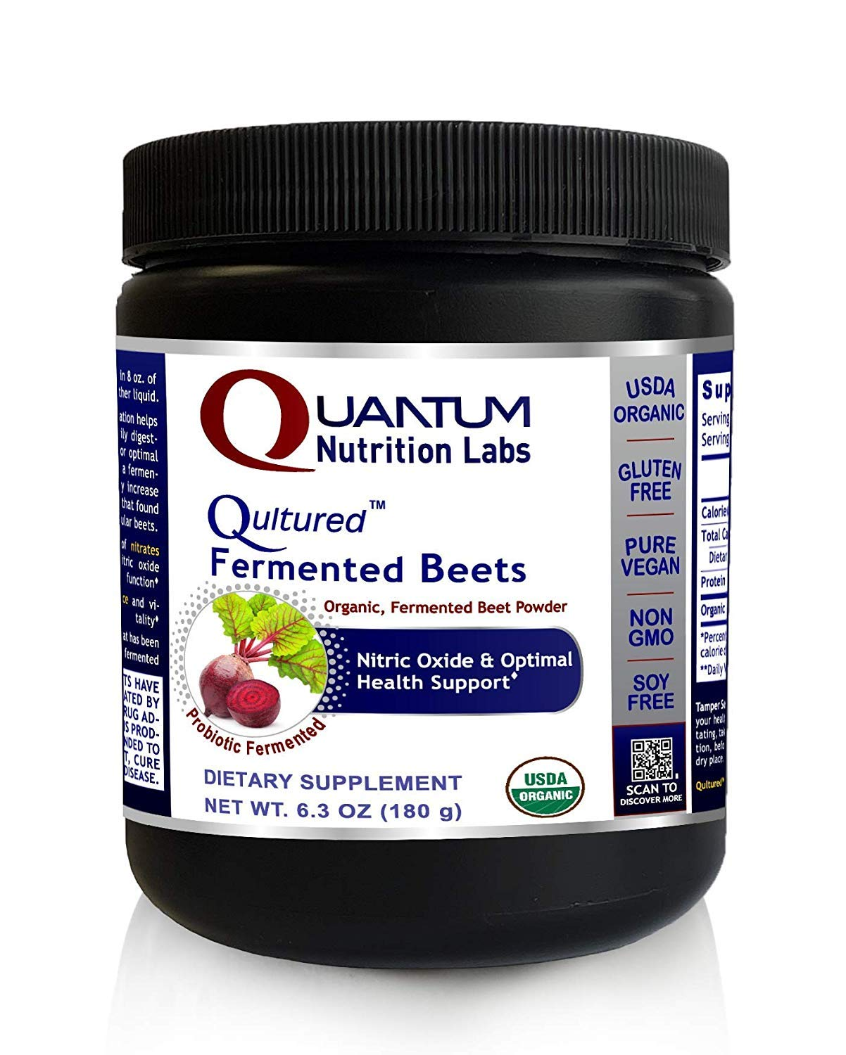 Qultured Fermented Beets, 25.2oz Powder, Organic Fermented Beets for Nitric Oxide & Health Support from Quantum Premier Research Labs