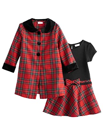 infant toddler girls red plaid christmas holiday party dress jacket