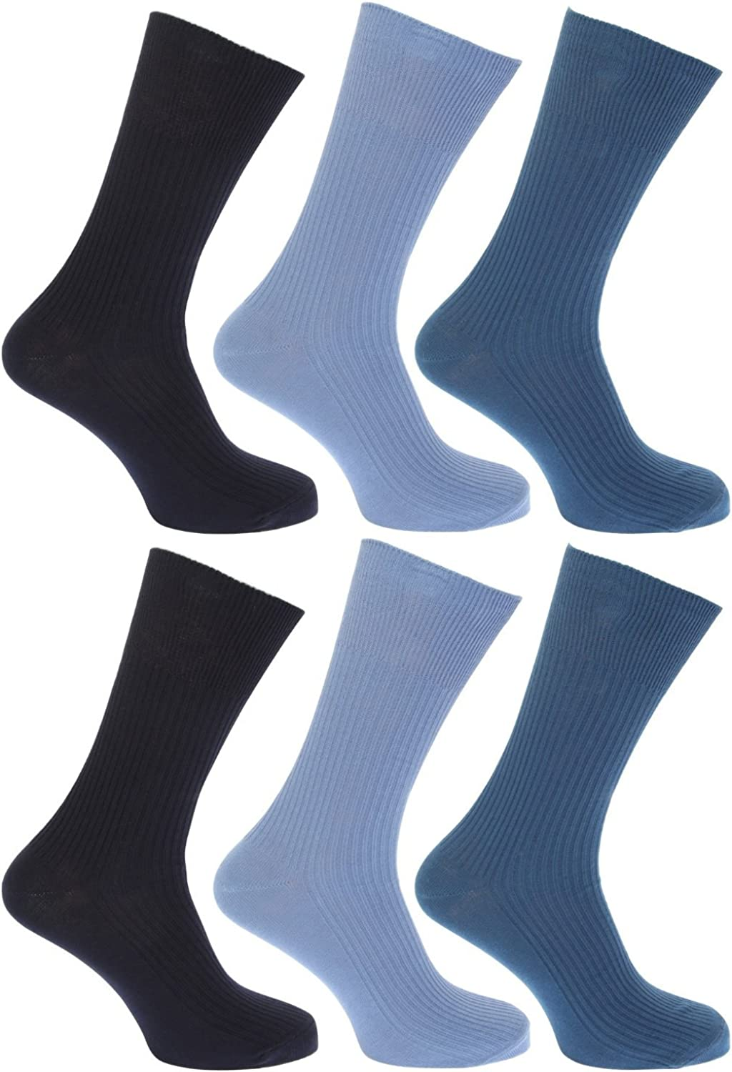Unknown Mens 6 X 100/% Cotton Loose Wide Soft Short Mid Calf Socks