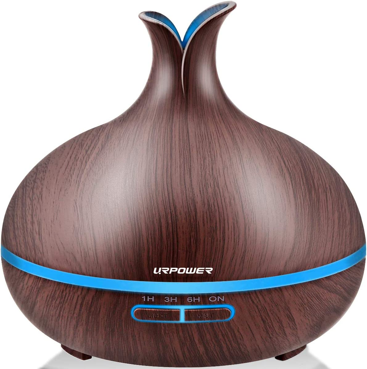 URPOWER 400ml Essential Oil Diffuser Wood Grain Diffuser with Auto Shut-Off, 7 Color Light Aromatherapy Oil Diffuser Humidifier and 4 Timer Settings Humidifiers for Bedroom Office