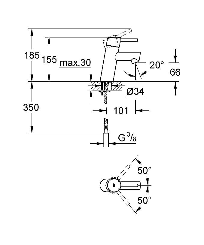 Grohe Concetto - Grifo de lavabo Cuerpo liso tamaño S (montaje en pared) Ref. 19575001: Amazon.es: Bricolaje y herramientas