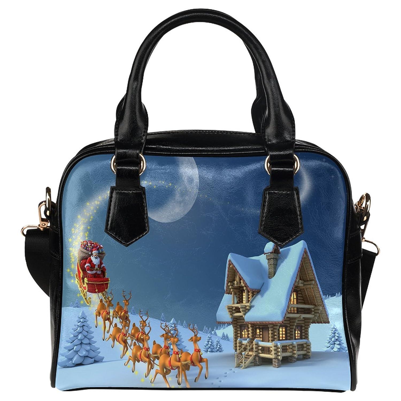 CASECOCO Santa Claus Rides Reindeer Christmas PU Leather Purse Handbag Shoulder Bag