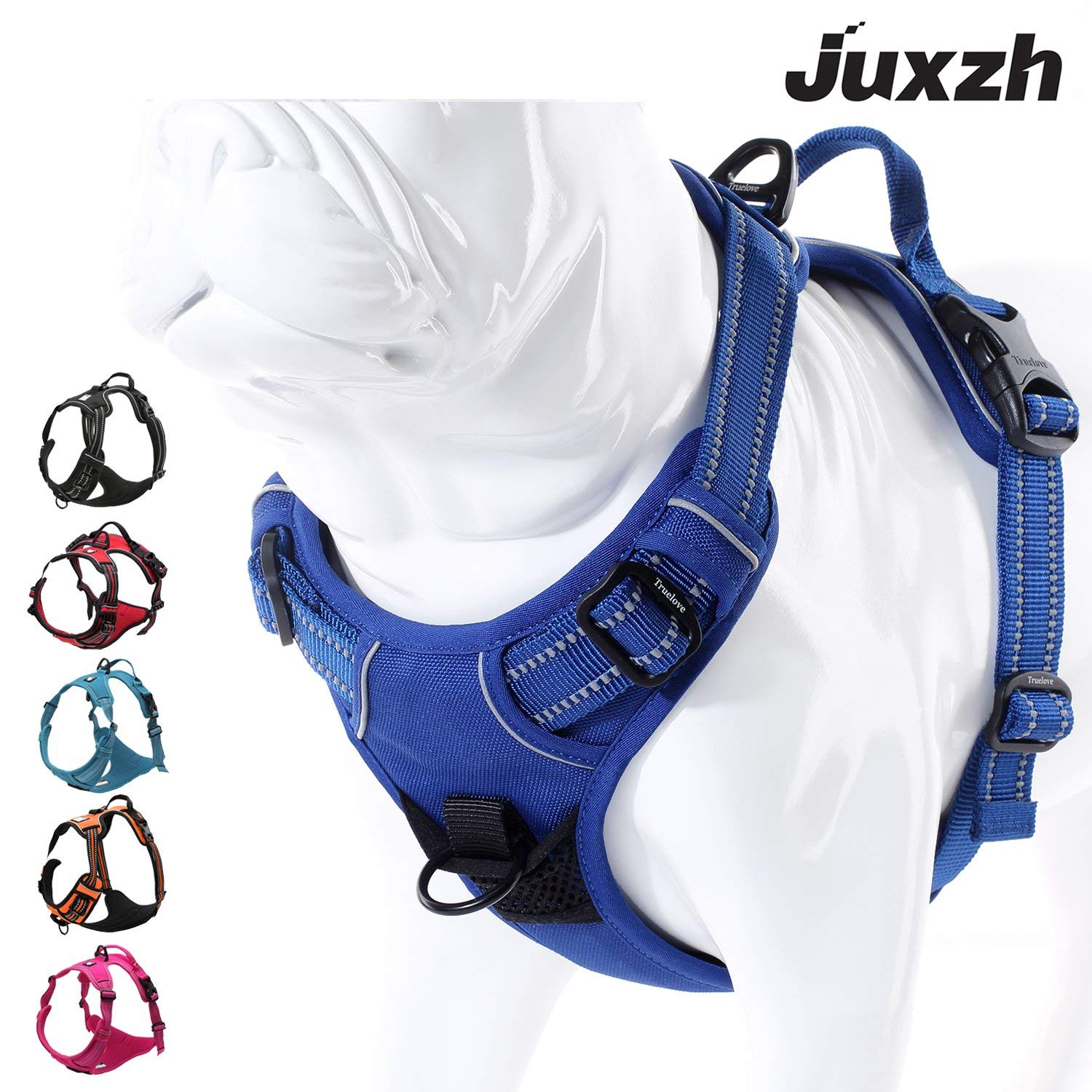 Royal bluee Large Royal bluee Large JUXZH Soft Front Dog Harness .Best Reflective No Pull Harness with Handle and Two Leash Attachments