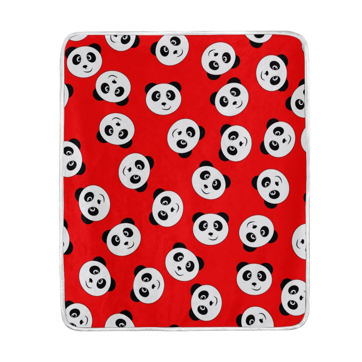 My Little Nest Warm Throw Blanket Smile Panda Red Lightweight Microfiber Soft Blanket Everyday Use for Bed Couch Sofa 50'' x 60''