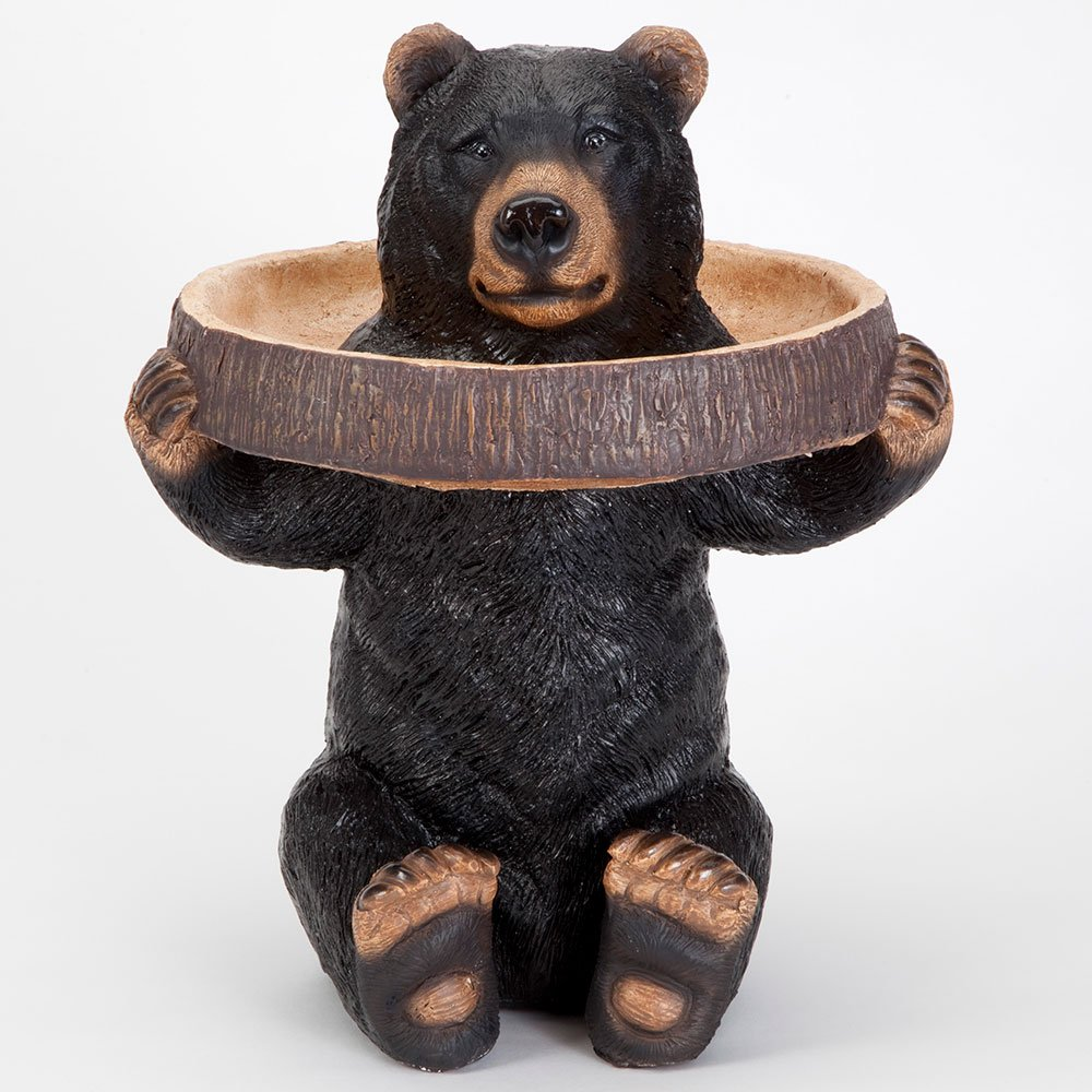 Bits and Pieces - Bear Holding Tray Birdbath and Feeder - Realistic Polyresin Black Bear Statue - Accent Outdoor Lawn and Garden Décor