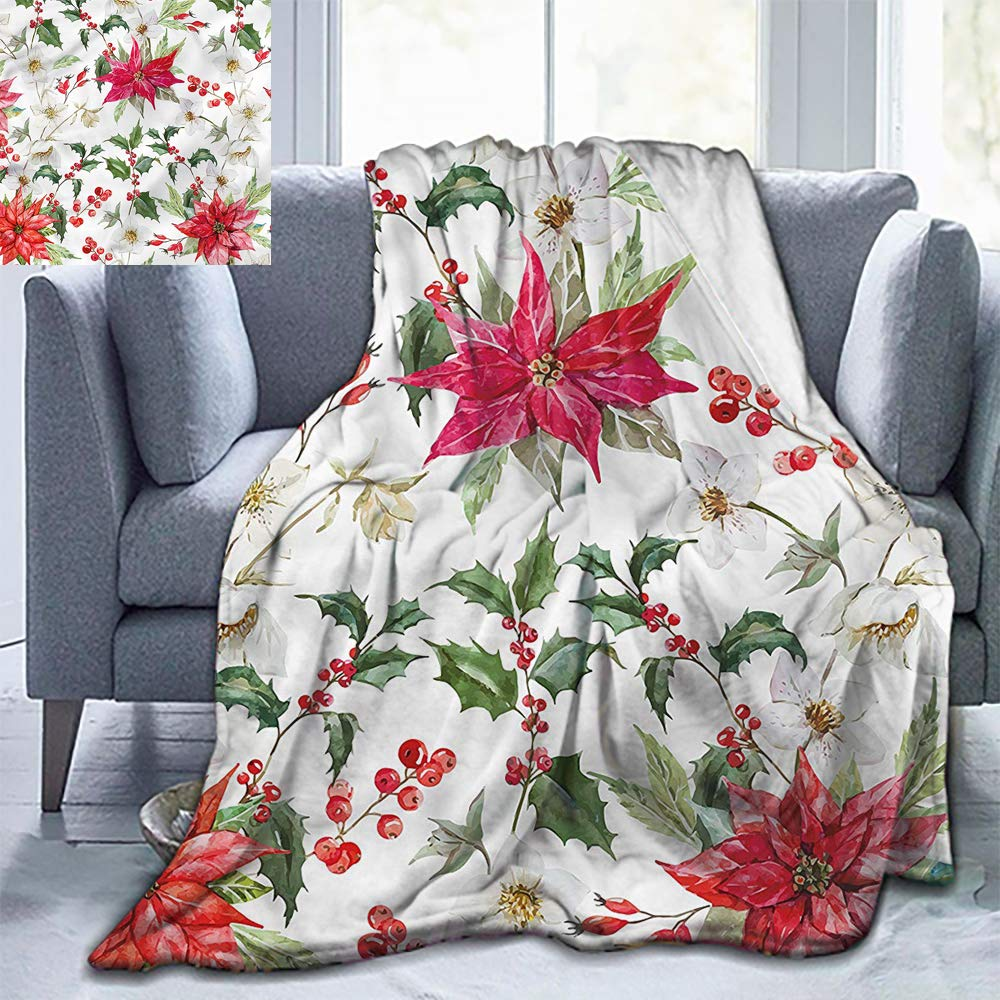 "Elxmzwlob Christmas Blankets,Silky Soft Plush Blanket,Floral,Christmas Flowers Buds-Light Weight(91""X60"")"