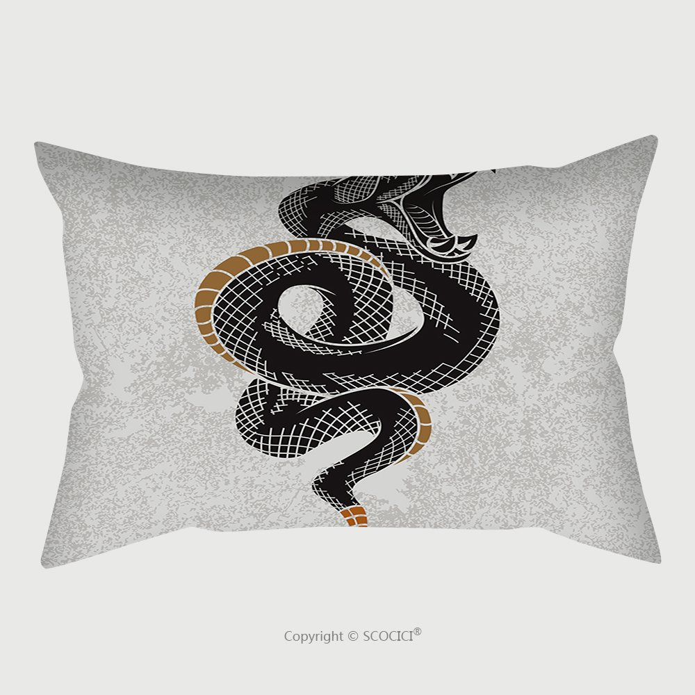 Custom Satin Pillowcase Protector Viper Snake Hand Drawn Vector Illustration In Ink Technique On Grunge Background Good For Poster 549155095 Pillow Case Covers Decorative