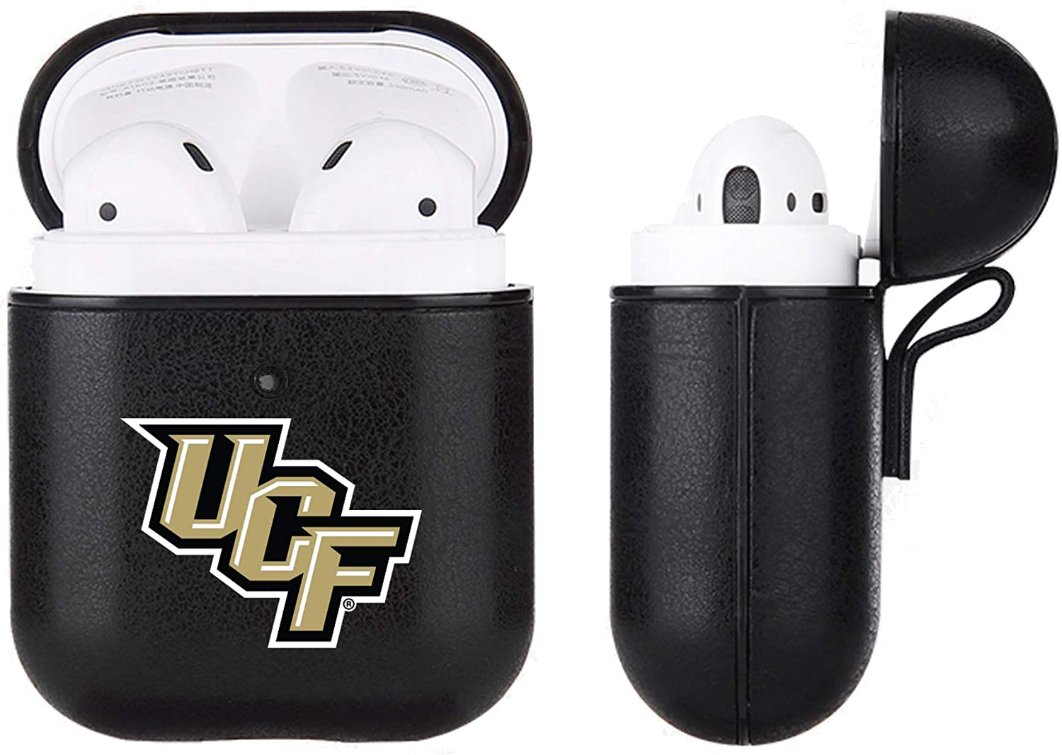 Fan Brander Black Leather NCAA case compatable with Apple AirPod
