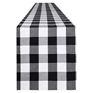 Syntus 14 x 72 inch Buffalo Check Table Runner Cotton-Polyester Blend Handmade Black and White Plaid for Family Dinner, Outdoor or Indoor Parties, Thanksgiving, Christmas & Gathering