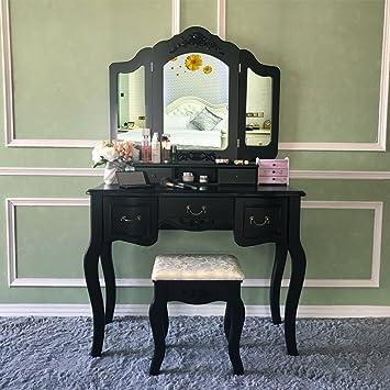 black makeup vanity with drawers. vanity makeup table set vanities tri-folding mirror with stool 5 drawers dressing black r