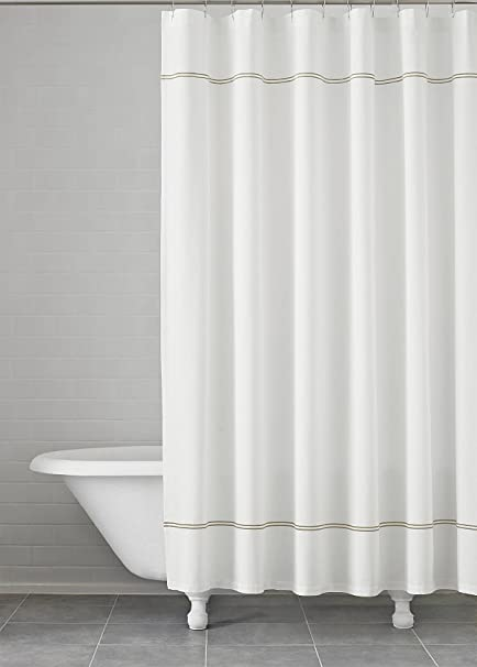 Carrara Embroidered Shower Curtain 72quot X Kassatex 100 Cotton