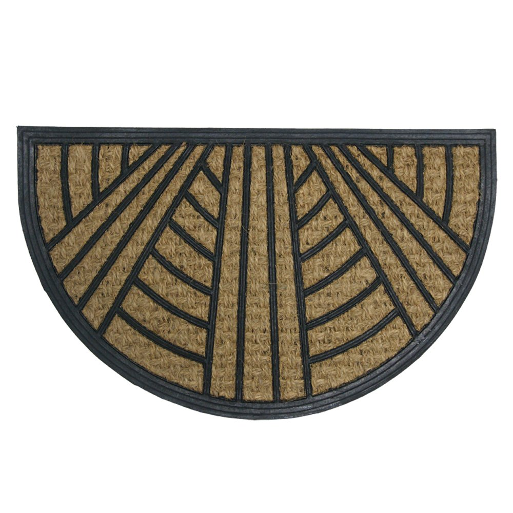 Rubber-Cal 10-102-521 It's Good To Be Home Outdoor Rubber Coir - 18 x 30 Half Round