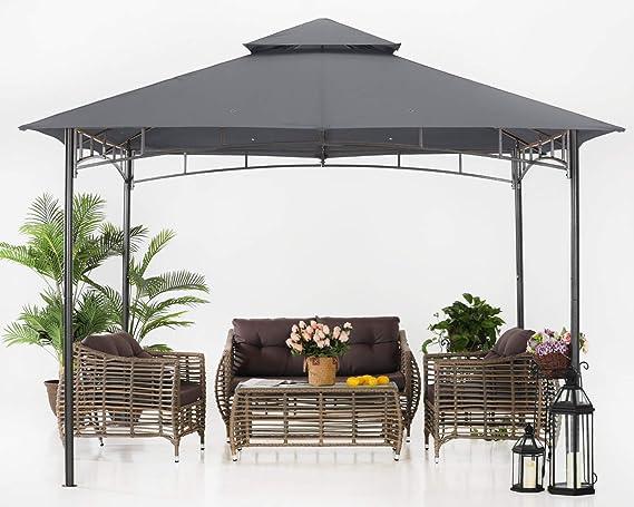 ABCCANOPY Gazebos de patio para patios doble techo suave toldo jardín patio trasero Gazebo para sombra y lluvia, gris oscuro