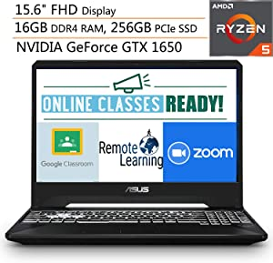 "ASUS TUF 15.6"" FHD Gaming Laptop Computer, Quad-Core AMD Ryzen 5-3550H, 16GB DDR4, 256GB PCIe SSD, NVIDIA GeForce GTX 1650, Webcam, Online Class Ready, Windows 10, iPuzzle 500GB External Hard Drive"
