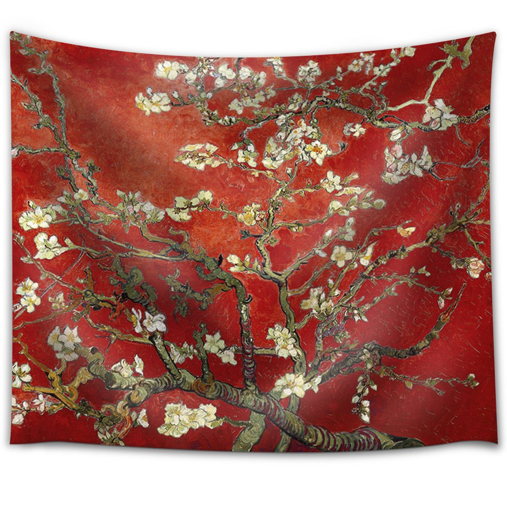 """Wall26 Fabric Tapestry-88x104 /""""Blossoming Almonds on Red/"""" by Vincent van Gogh"""