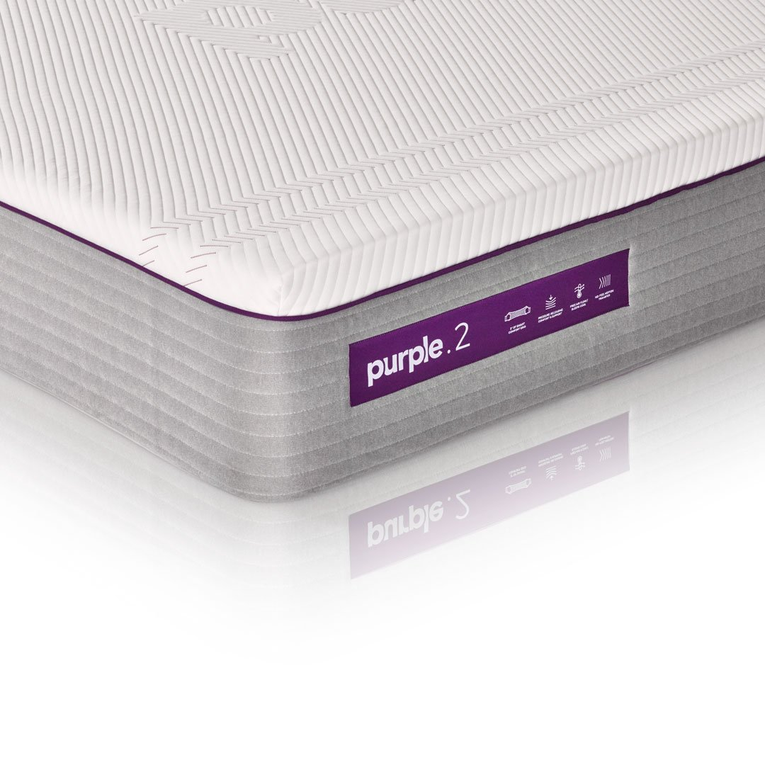 "The New Purple Mattress, with Soft 2"" Smart Comfort Grid Pad and Cooling Comfort-Stretch Cover (Twin XL)"