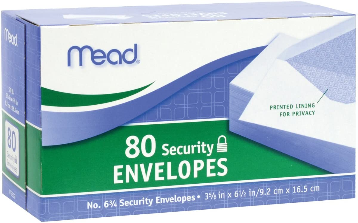 "Mead #6-3/4 Security Envelopes, 3-5/8"" x 6-1/2"", Confidential, White, 80 per Box (75212)"