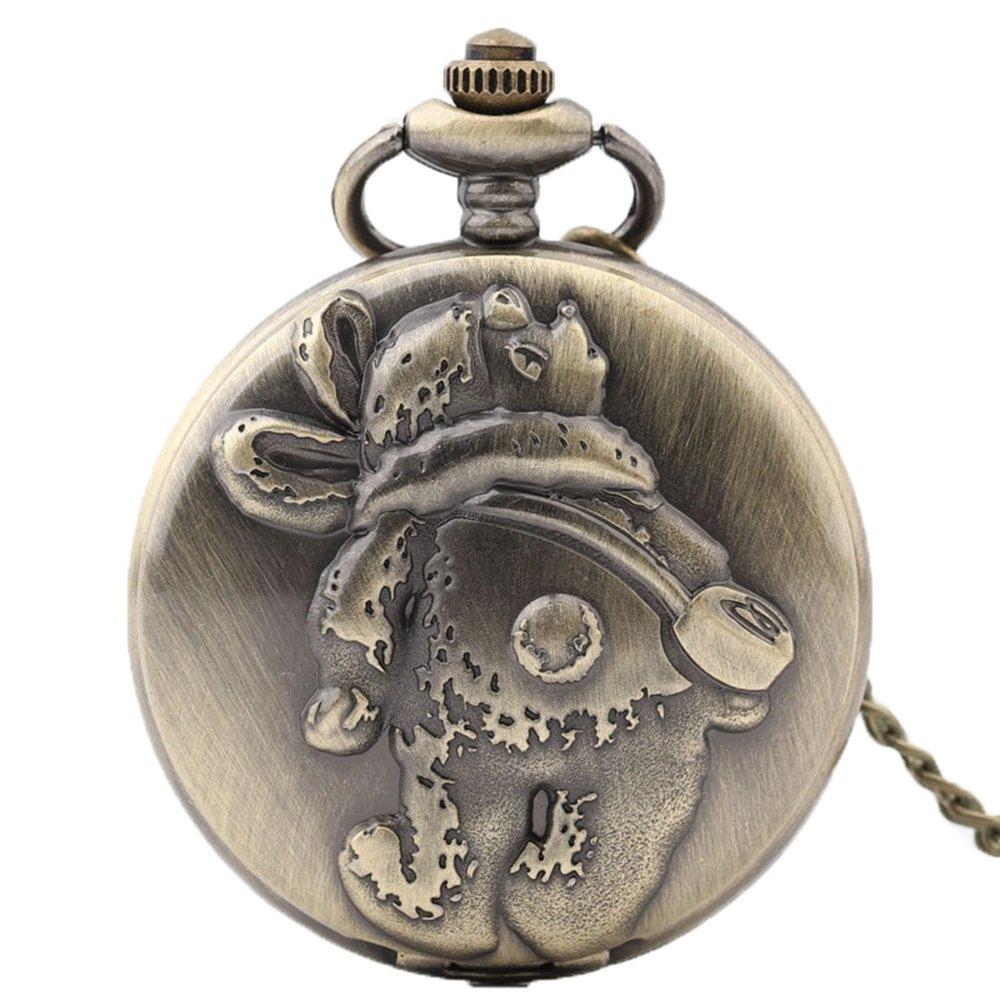 Shirleyle Carved Vintage Quartz Pocket Watch Bronze Retro Watch With Long Chain For Women Men