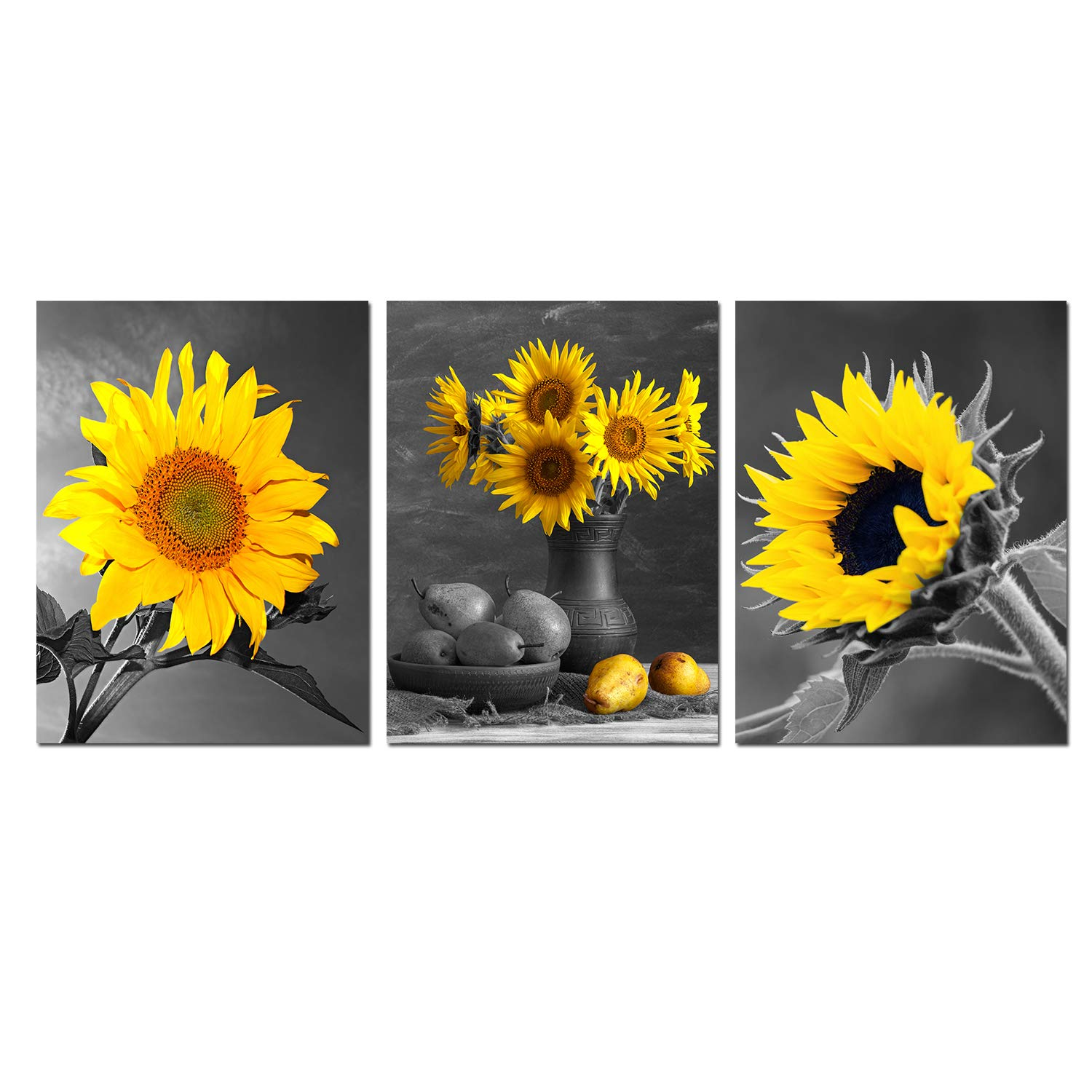 Sunflower Wall Art Canvas Painting Bloosom Flowers Black White Yellow Pictures Photos 3 Panels 12x16inch Floral Posters Kitchen Decor Giclee Prints Living Room Decoration Bedroom Artwork Unframed Buy Online In Bahamas