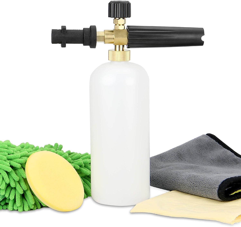 Kit de cañón de espuma de nieve | Set de regalo de limpieza de coches | Car Shampoo Gun Compatible con las lavadoras a presión Karcher K (K2 - K7) | Pukkr