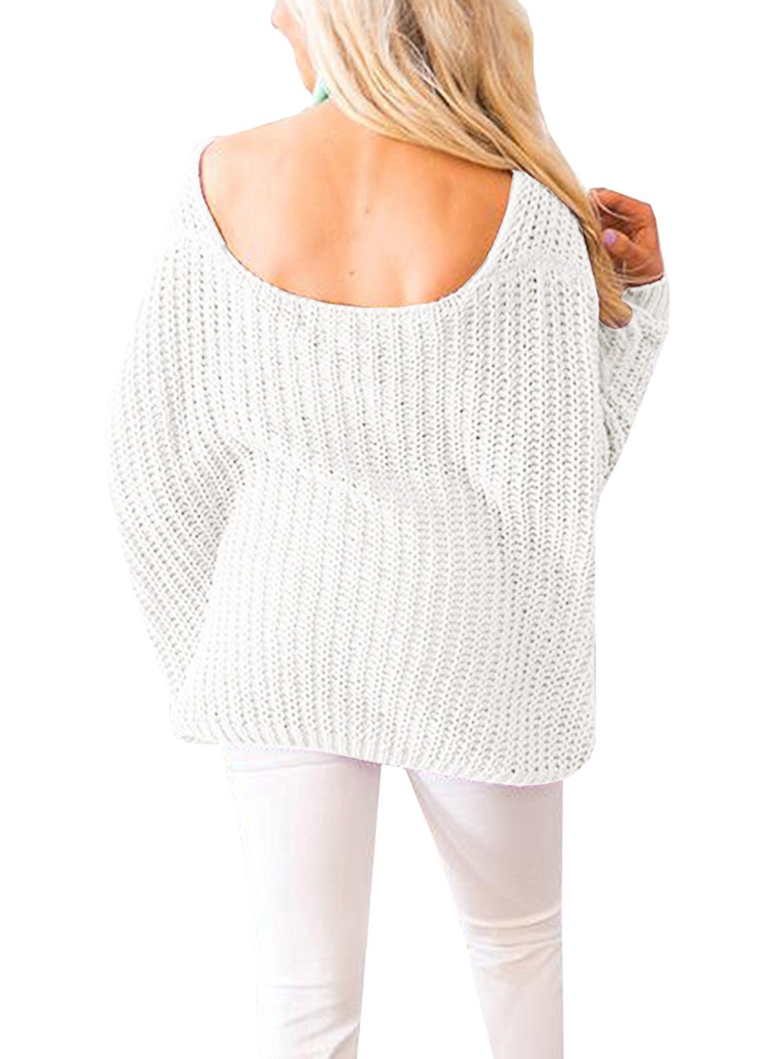 Huiyuzhi Women's Oversized Pullover Sweaters Off Shoulder V Neck Batwing Sleeve Loose Knit Chunky Sweatshirt Jumper Tops (M, White) by Huiyuzhi (Image #5)