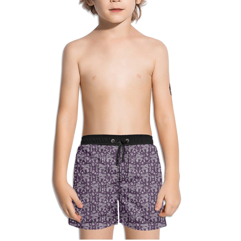 Trum Namii Boys Quick Dry Swim Trunks Violet Elephant Tribal Art Print Shorts