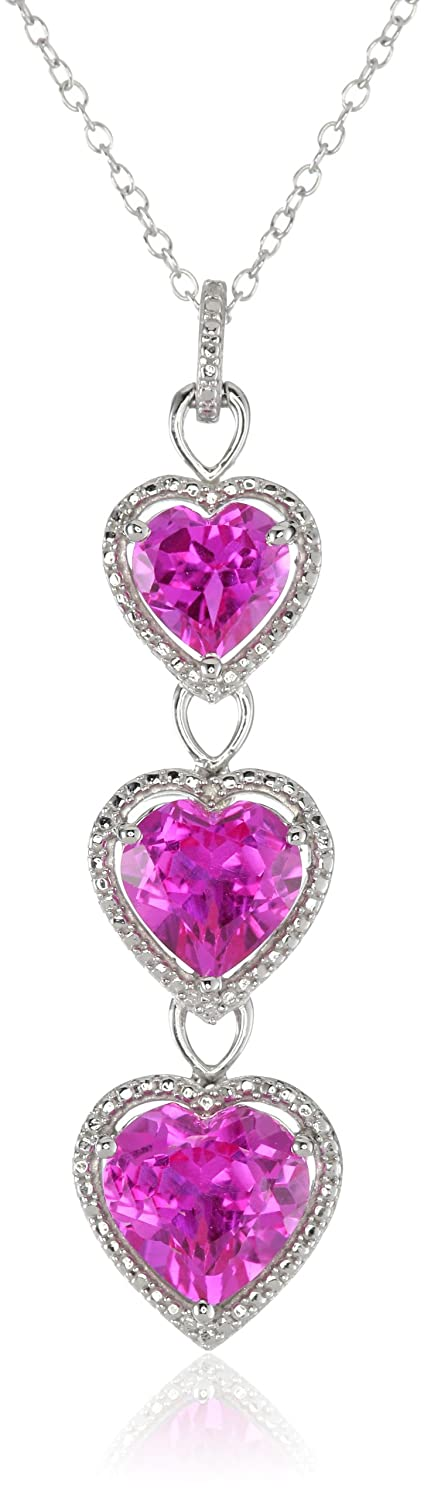 Jewelili Sterling Silver Created Pink Sapphire with Diamond Heart Pendant Necklace, 18