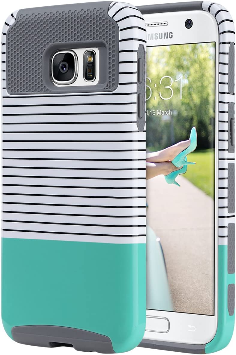 ULAK S7 Case, Galaxy S7 Case, Hybrid Case for Samsung Galaxy S7 2016 Release 2-Piece Dual Layer Style Hard Cover (Minimal Mint Stripes+Grey) Will not Fit S7 Edge