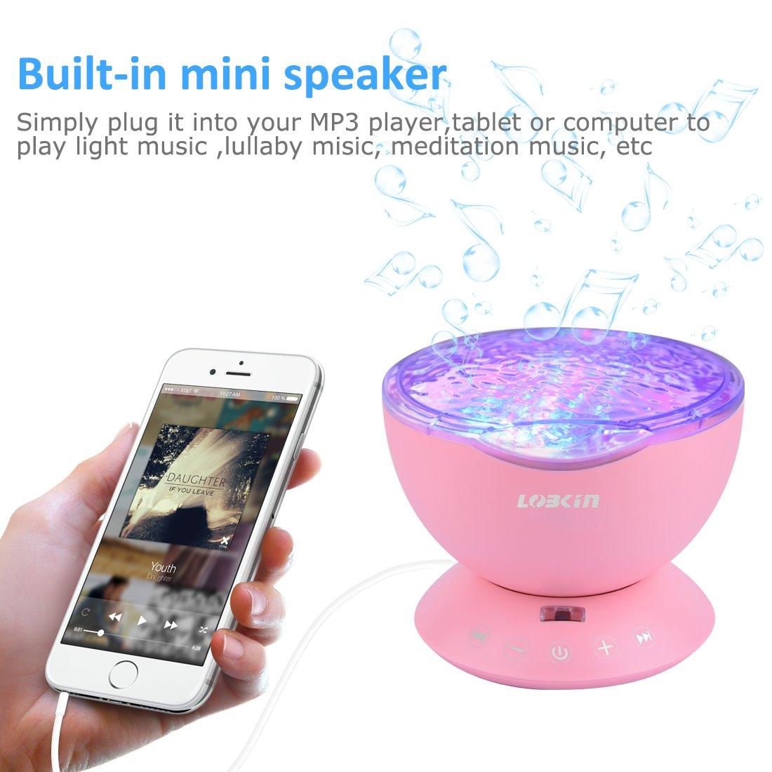 LOBKIN Ozean Wellen LED Nachtlicht-Projektor mit multifunktionaler Sensor Touch-Fernbedienung und integriertem Mini-Musikplayer/Lautsprecher (4 Melodien gespeichert) - Perfekt für Kinderzimmer, Wohnzimmer und Bad (12 LED Backlights)(Neues D