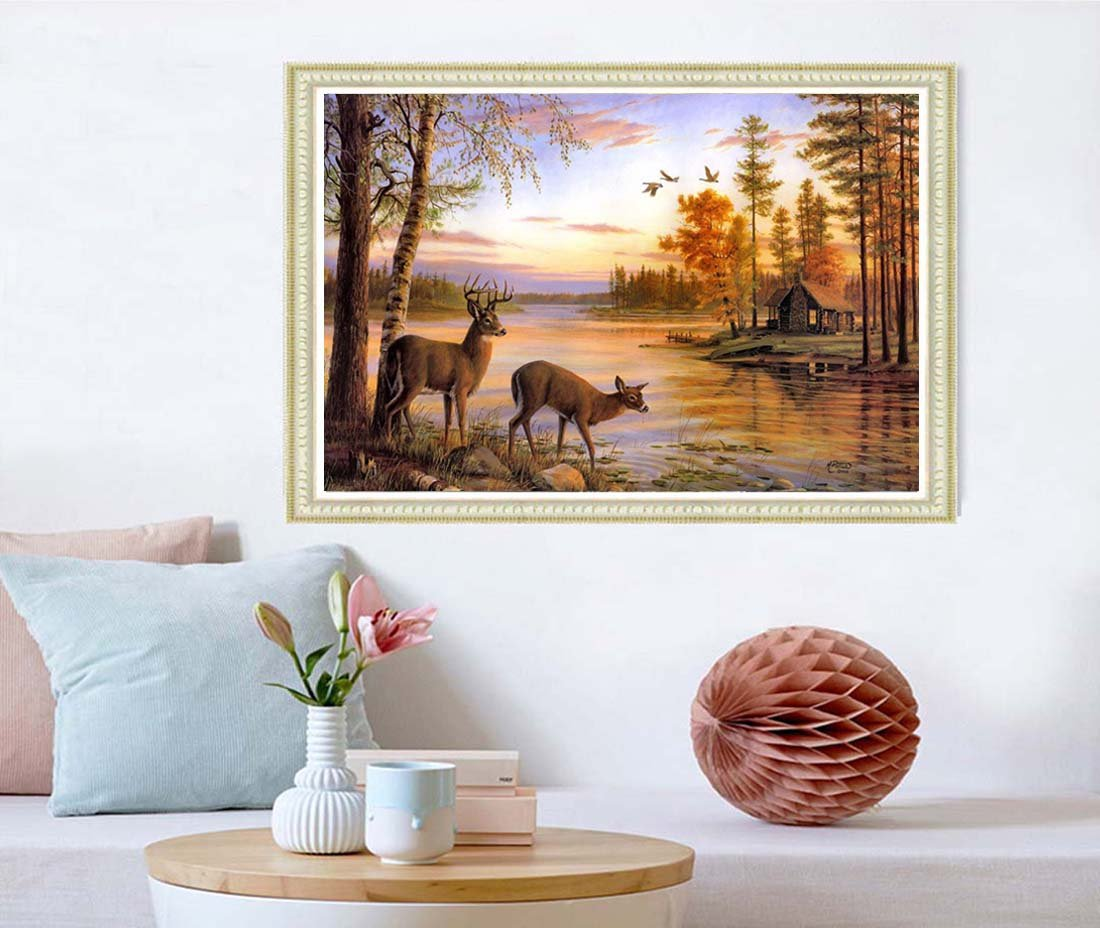 21secret 5D Diamond Diy Painting Full Drill Handmade White Tailed Deer Couple Drink Water Forest Lake Cross Stitch Home Decor Embroidery Kit by 21secret (Image #2)