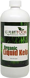 GS Plant Foods Organic Liquid Kelp Plant Fertilizer (1 Quart) | Omri Organic Listed Seaweed & Kelp Fertilizer Solution | Kelp Seaweed Plant & Vegetable Growth Concentrate for Gardens, Lawns & Soil