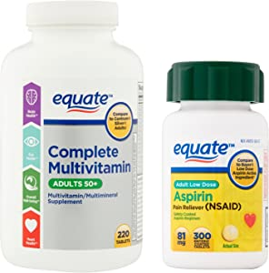 Equate Mature Multi Vitamin and Low Dose Aspirin Bundle - for Adult Men and Women 50 Or Over