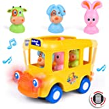 Musical School Bus Baby Toys 6 - 18 Months Toddlers Car for Boys and Girls Learning Toys for 1 Year olds