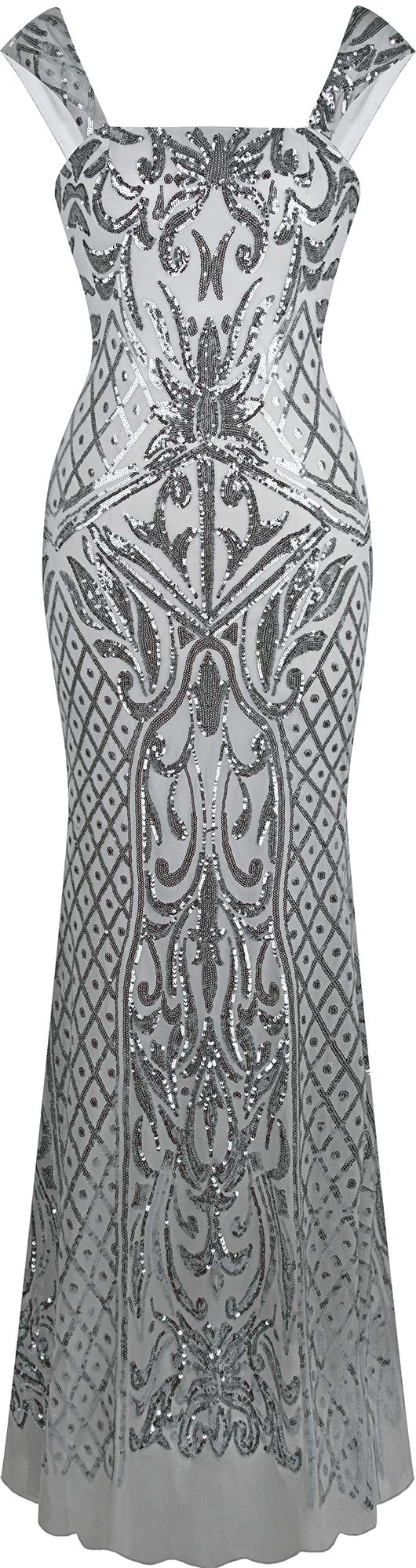 Angel-fashions Women's Square Collar Silver Sequin Floral Pattern Wrap Evening Dress Large