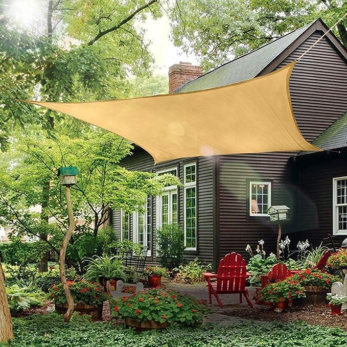 Toldo de toldo rectangular para sombra de sol, de 8 x 10 pies, cubierta de tela para exteriores – Bloque UV Parasol para pérgola, patio, jardín, carpintero (arena): Amazon.es: Jardín
