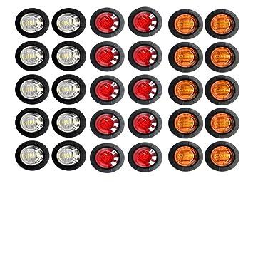 Pack of 50 3//4 inch Bullet Side Led Marker Trailer lights Clearance Indicator 12V DC Madcatz Amber Light Clear Lens