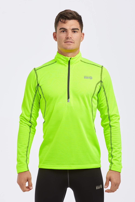Time To Run Maglietta Termica Leggera a Manica Lunga da Uomo, con Zip al Collo RER La Corsa/Palestra