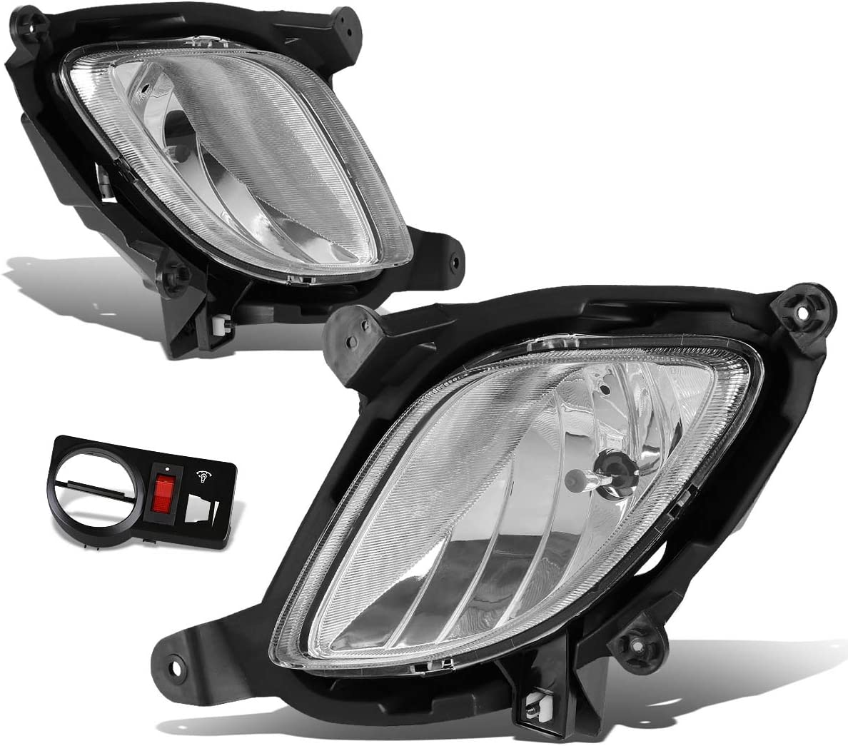 Replacement for Genesis Coupe Pair of Bumper Driving Fog Lights w/Switch (Clear Lens)