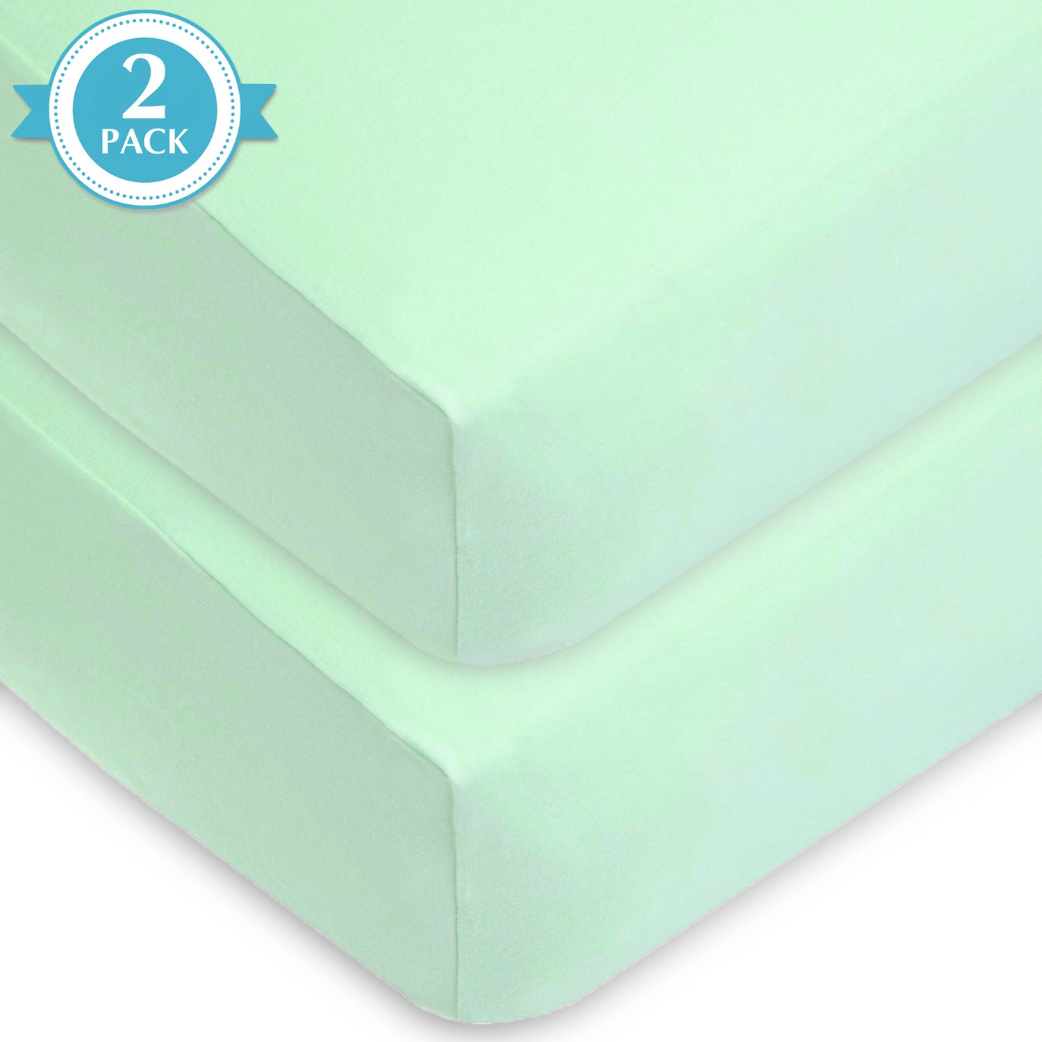American Baby Company 2 Piece 100/% Cotton Value Jersey Knit Fitted Crib Sheet Mint